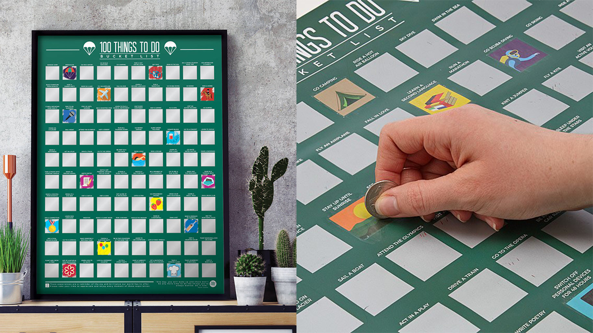On left: 100 Things To Do Scratch Off Poster. On the right: a hand scratching off the block with a coin.