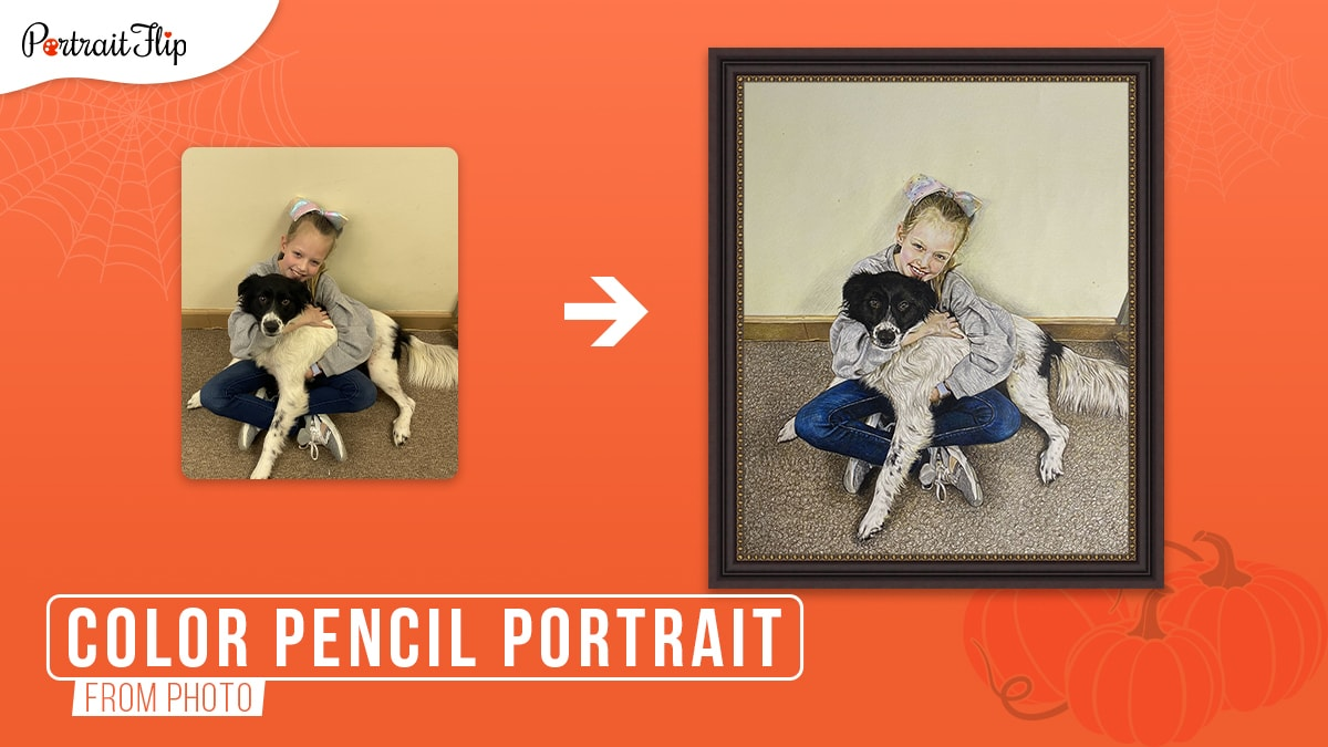 A photo of a teen girl holding her border collie dog converted into a framed color pencil portrait on an orange background.