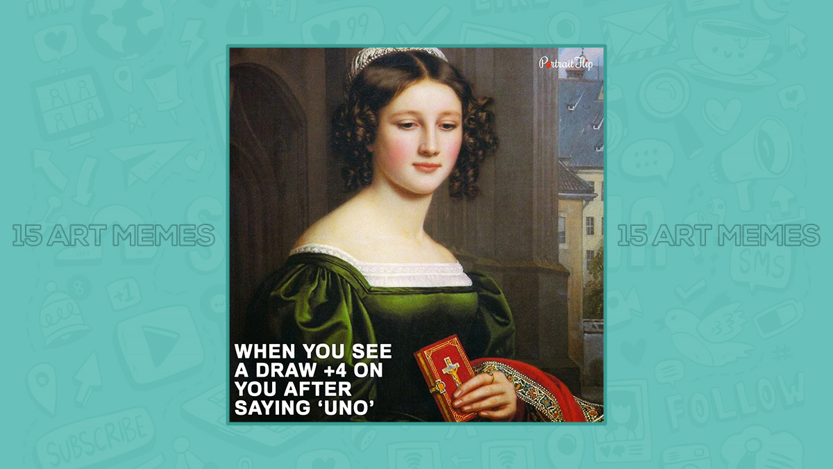 Classical art memes of a woman in a painting holding bible.