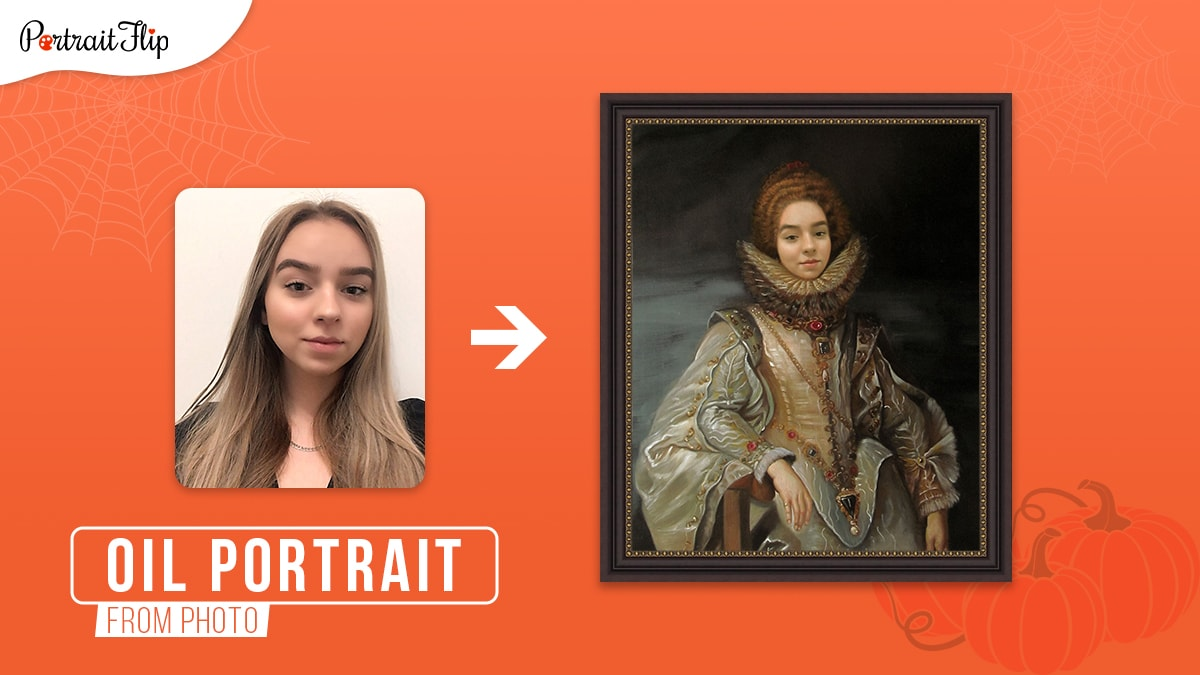 A portrait photo of a girl turned into a framed oil painting as a Victorian era queen on an orange background.