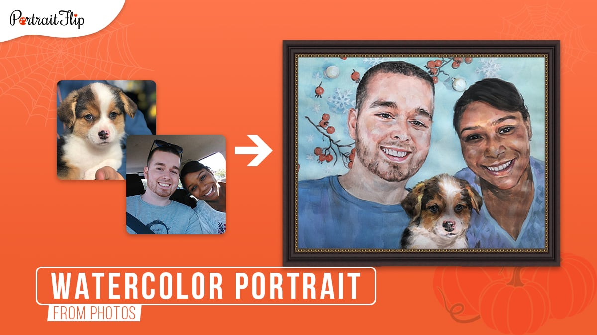A photo to watercolor painting of 2 merged photos of a couple and a puppy on an orange background.