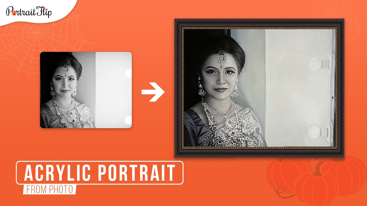 A portrait photo of a female wearing jewelry and a saree turned into a framed acrylic painting on an orange background.