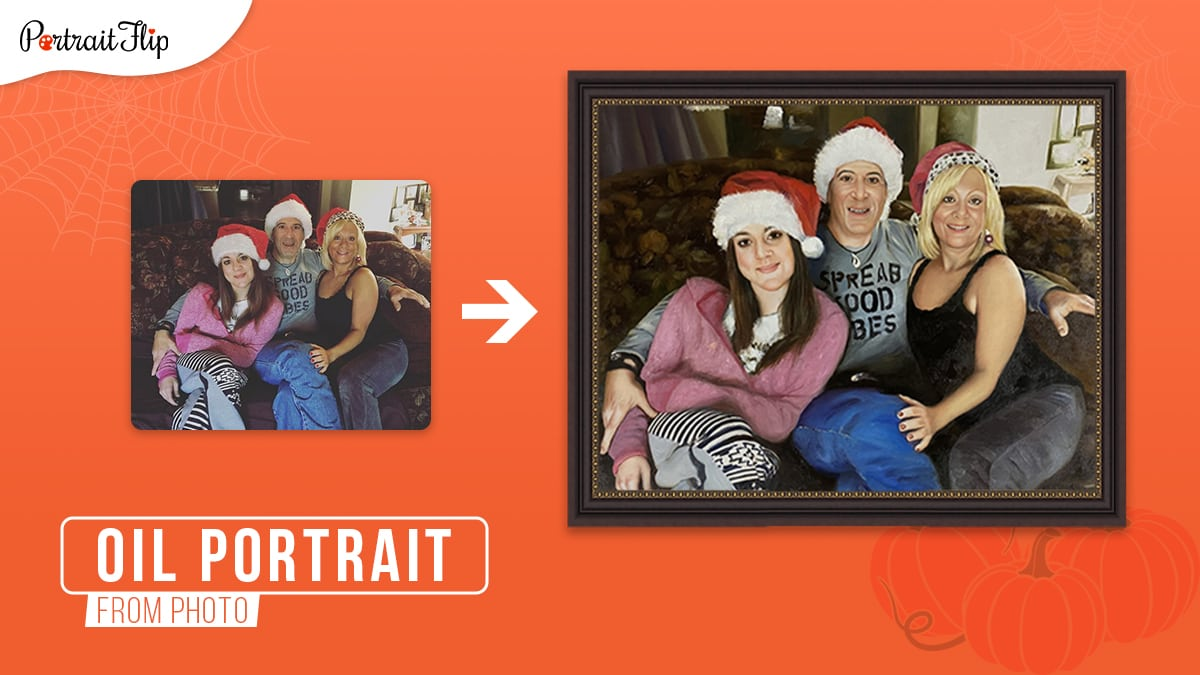 a photo of a family of three turned into a framed oil painting on an orange background.