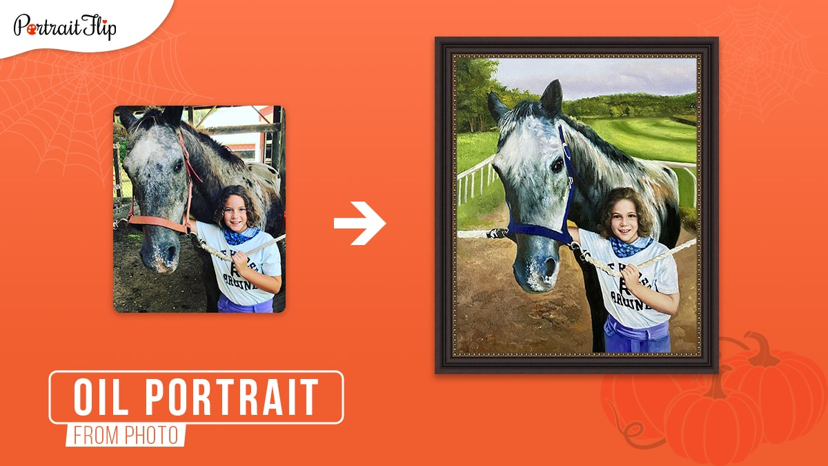 A photo to oil painting with a changed background and girl standing with a horse on an orange background.