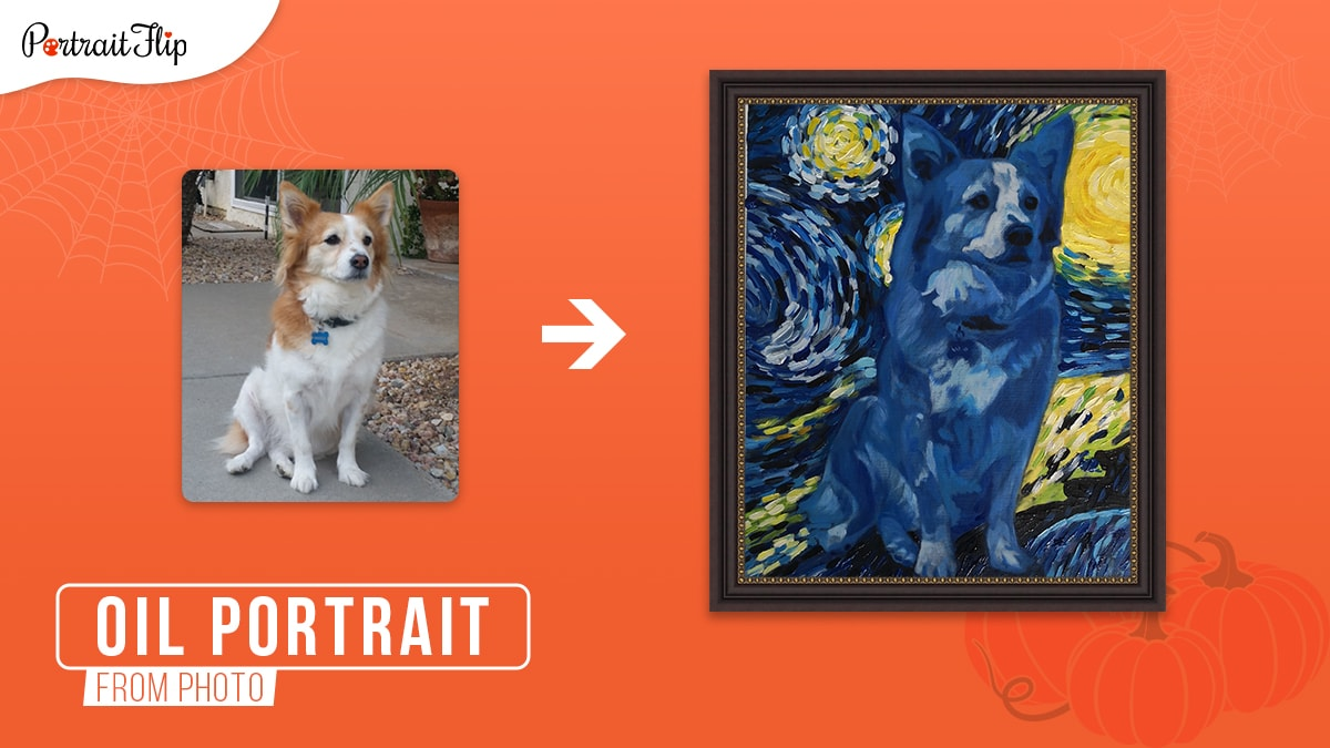 a photo of a brown and white dog turned into a framed oil painting with Vincent van Gogh's starry night theme on an orange background.