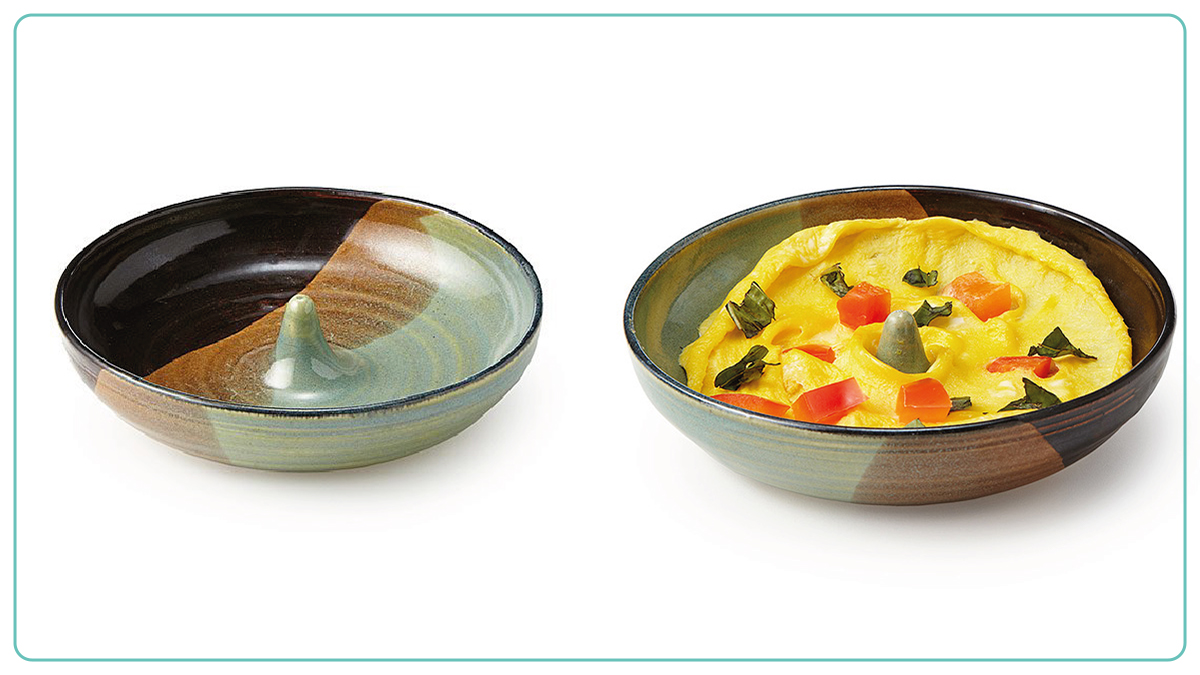 on left: 45-Second Omelet Maker. on right: a baked omelet in a 45-Second Omelet Maker
