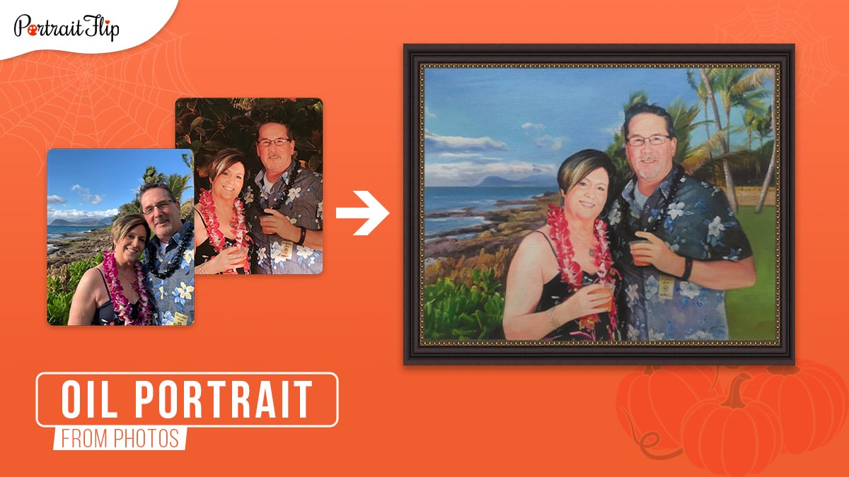 A single oil painting by merging a photo of a man and wife from one photo and a seas and cliff from another photo on an orange background during the Halloween holidays.
