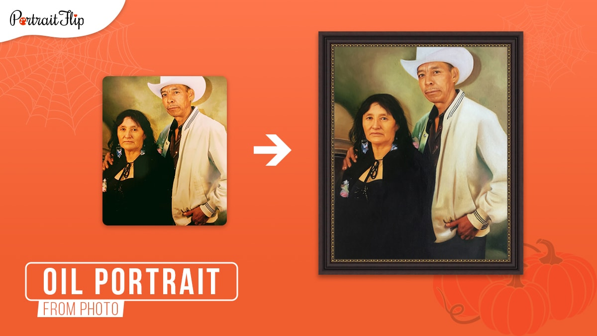 A photo of a male and a female couple standing together turned into a framed oil painting on an orange background.