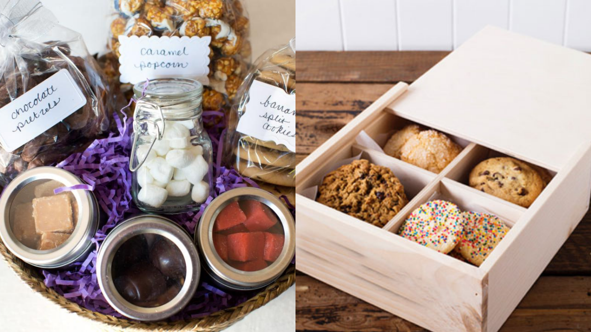 A snack box, filled with homemade sweets as a christmas gift for grandpa.