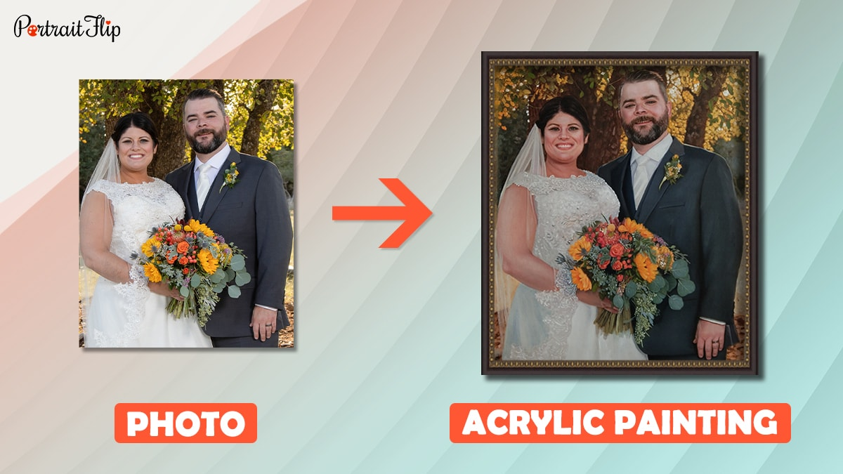 a wedding photo of a couple is turned into a custom acrylic painting by the portraitflip artists