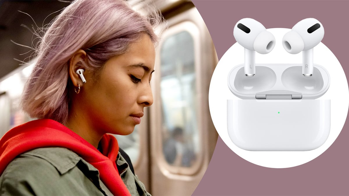 A woman listening to songs with an airpod.