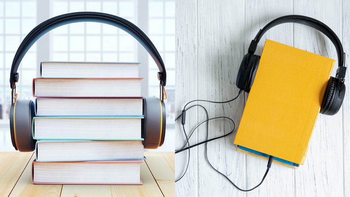 On a stack of books a headphone is placed around it, to show as if its hearing the books - this signifies Audiobooks, books that can be heard.