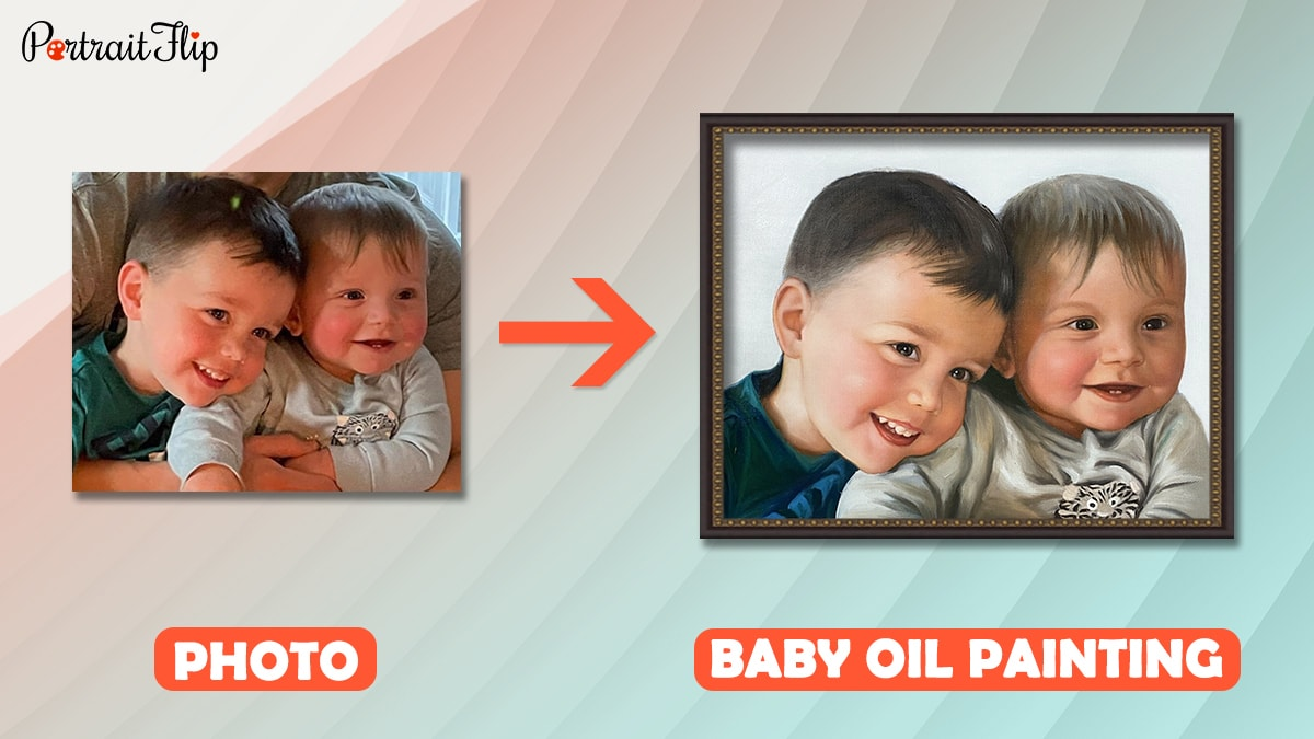 A photo of two babies is converted into a baby oil portrait by portraitflip artists.