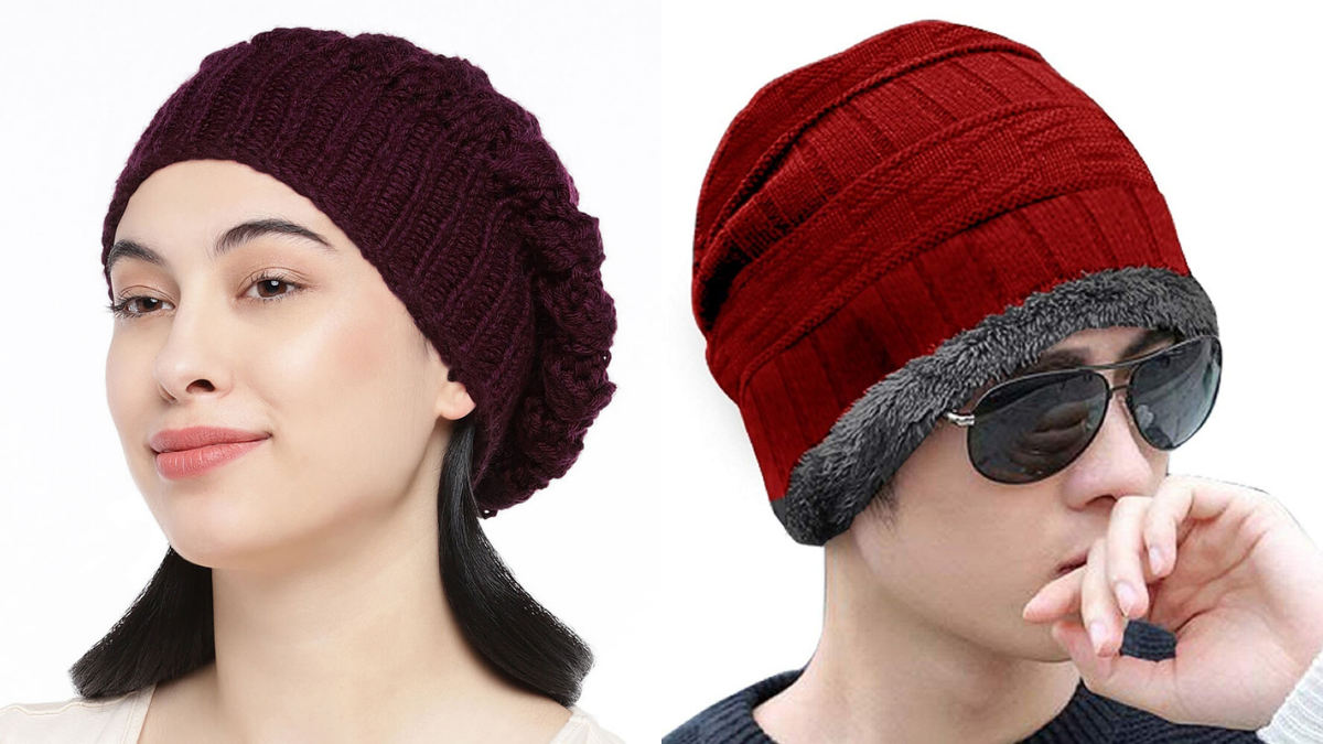 A guy and a girl in red and brown beanies.