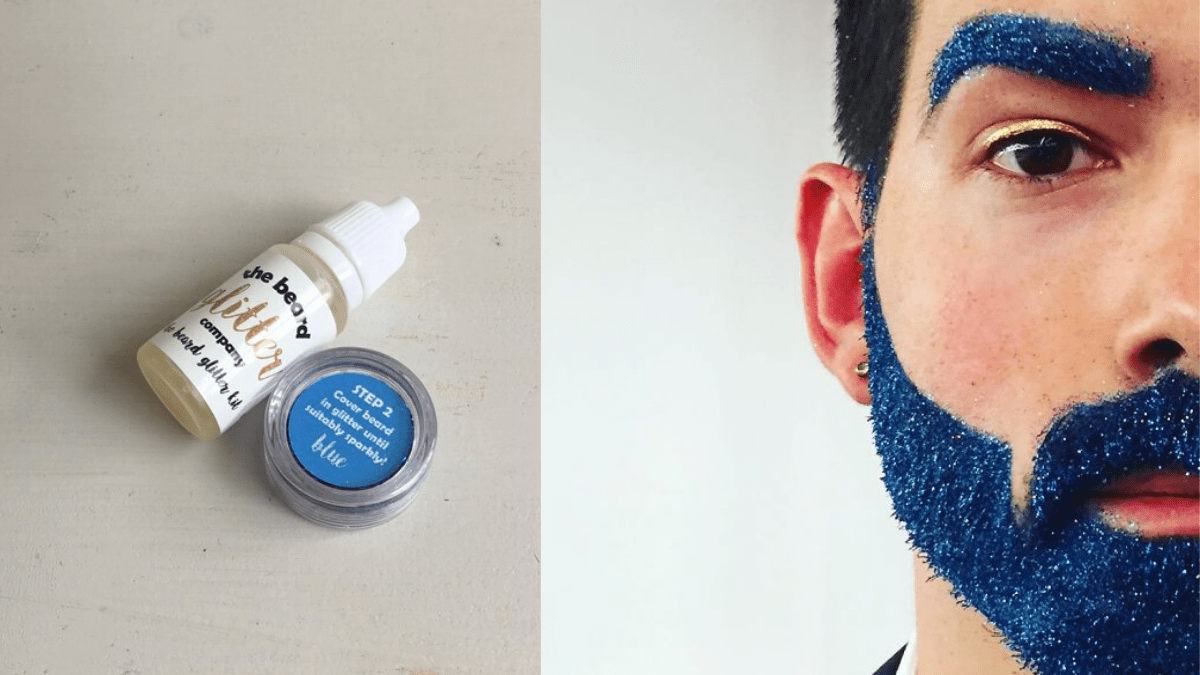 A bottle of blue glitter and serum on the left. a half faced man with blue glittered beard and eyebrows on the right.