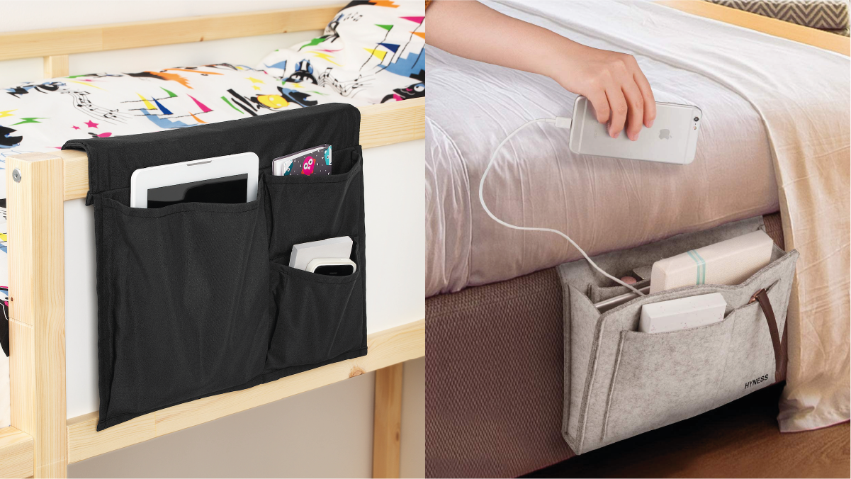 on left: a black bedside caddy with smartphone, tablet, and small diary. On the right: a hand keeping an iPhone in the white colored bedside caddy