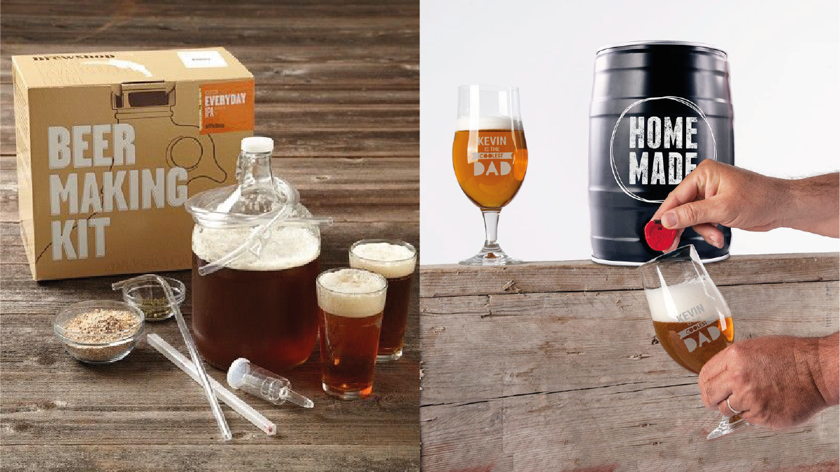 On left: Beer making kit. On right: a person brewing homemade beer.