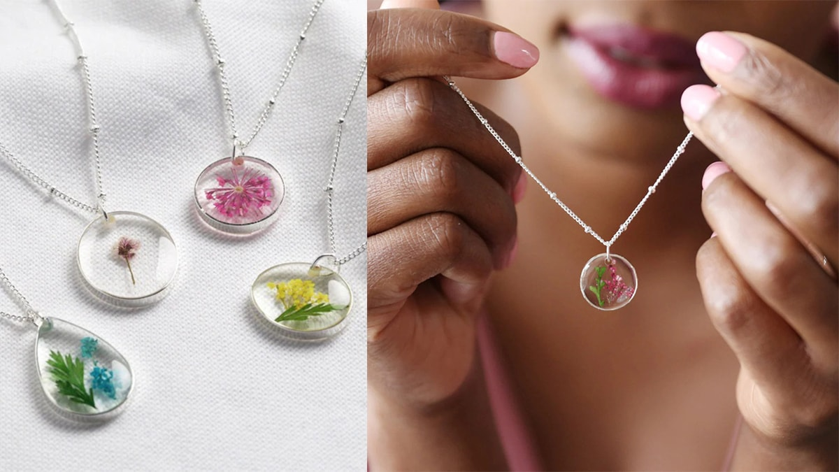 on right side: transparent birthflower necklaces. On the right side: a woman holding a birthflower necklace