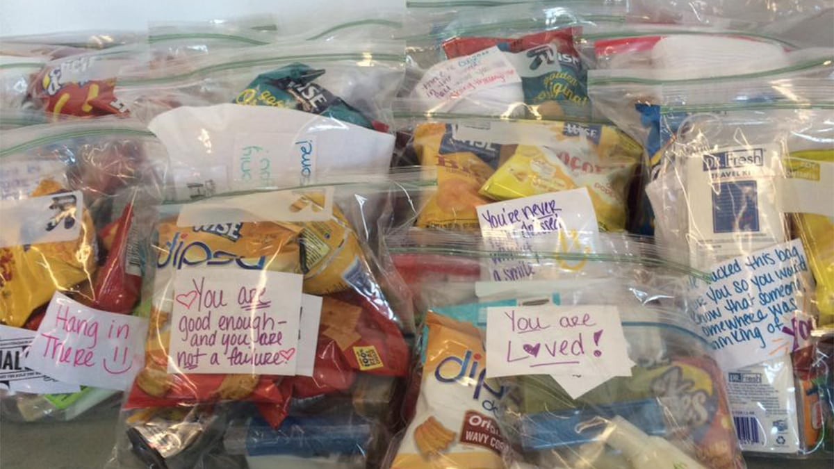 blessing bags with different items and a appreciation note