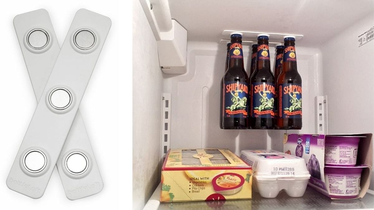 On left: bottle lofts. On the right: a close up of the inside of fridge where beer bottles are hanging at the top.