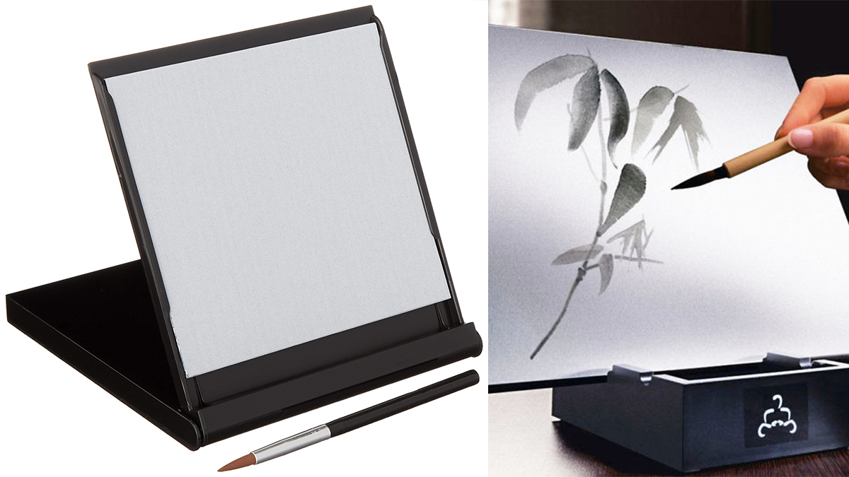 On left; Buddha Board with a paint brush. On right, leaves and stems are bein painted on the Buddha Board