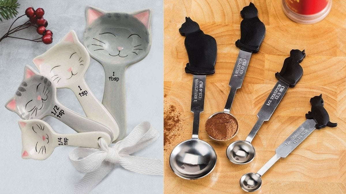 On left: white and grey cat measuring spoons. On right; steel spoons with black black