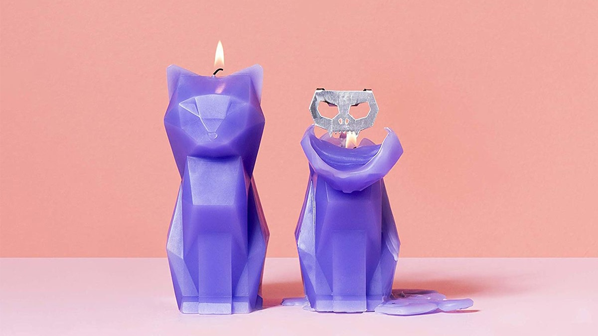 a purple colored burning Cat shaped candle on the left side and a metallic skeleton being exposed on the right side on a pink background.