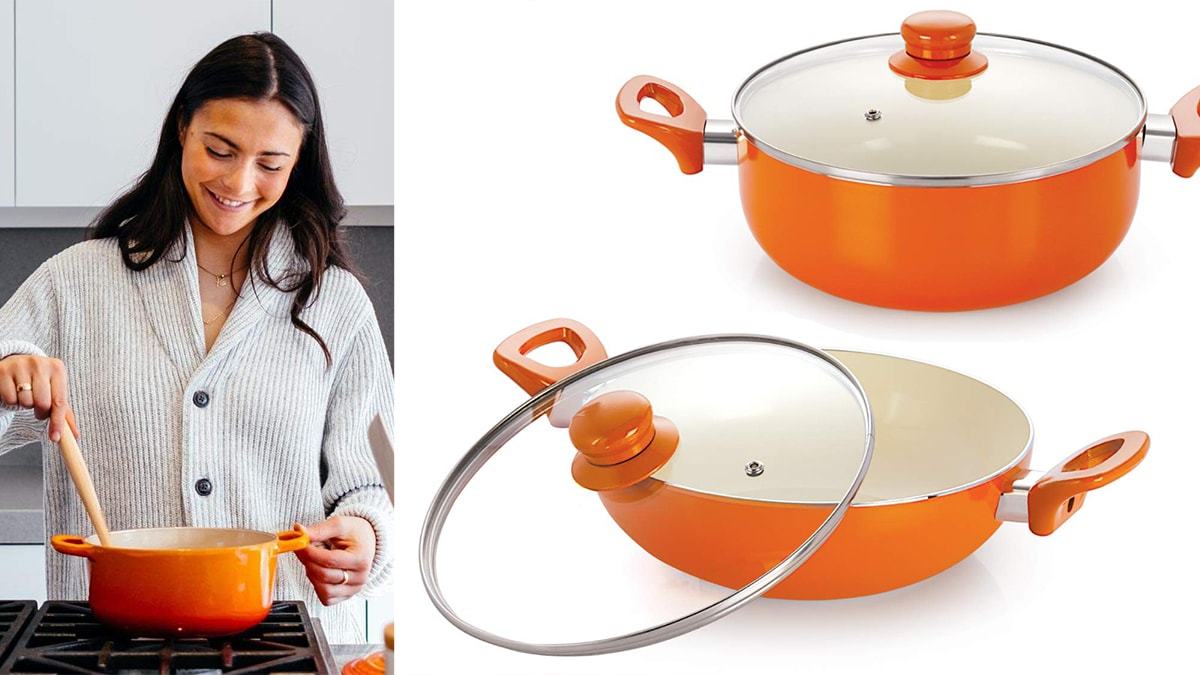 On left: a woman stirring orange colored ceramic cookware on the stove. On right: Two orange ceramic cookwares.