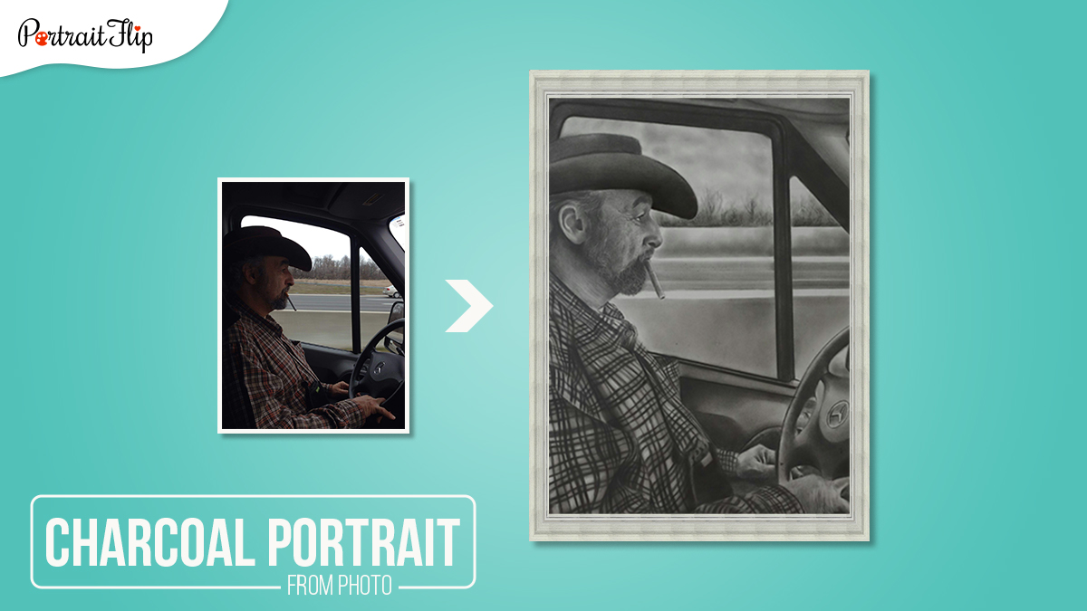 A Charcoal Portrait made by PortraitFlip. A photo of a old man driving car, wearing a cowboy with a cigarette in his mouth is sketched.
