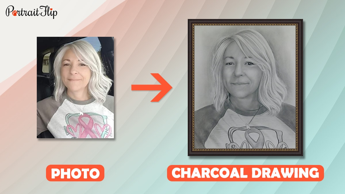 a photo of woman is turned into a charcoal drawing by artists of portraitflip