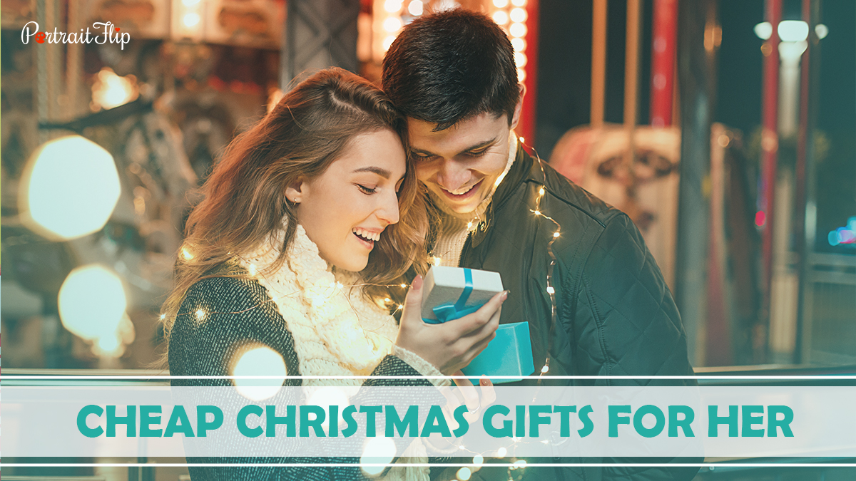 Cheap Christmas Gifts For Her: A girl is surprised by her boyfriend's present.