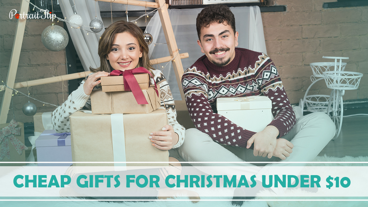 Cheap Gifts For Christmas Under $10: A girl and a guy holding bunch of gift boxes and smiling.