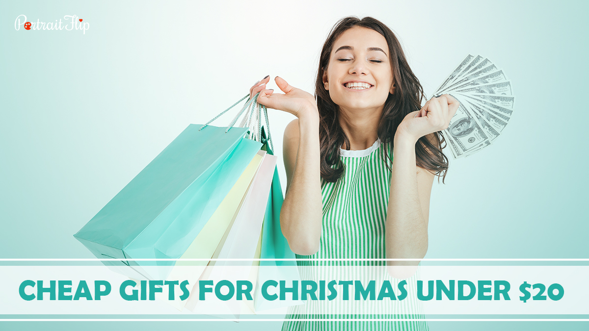 Cheap Gifts For Christmas Under $20: A girl smiling up where she has some bags on her right hand and cash on the left hand.