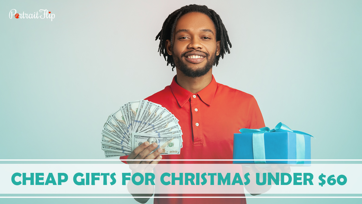 Cheap Gifts For Christmas Under $60: A boy holding cash on one hand and a gift on the other hand.