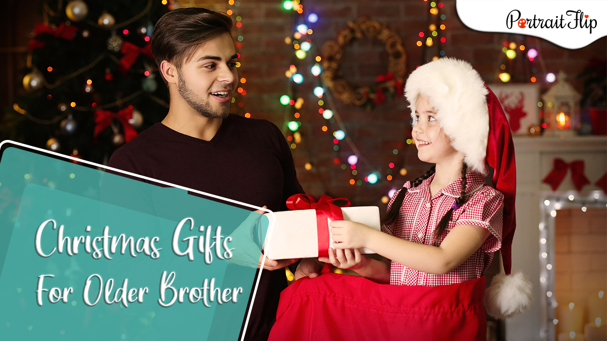 Christmas gifts ideas for older brother: a sister pretending to be santa claus giving her brother a christmas gift from her red bag.