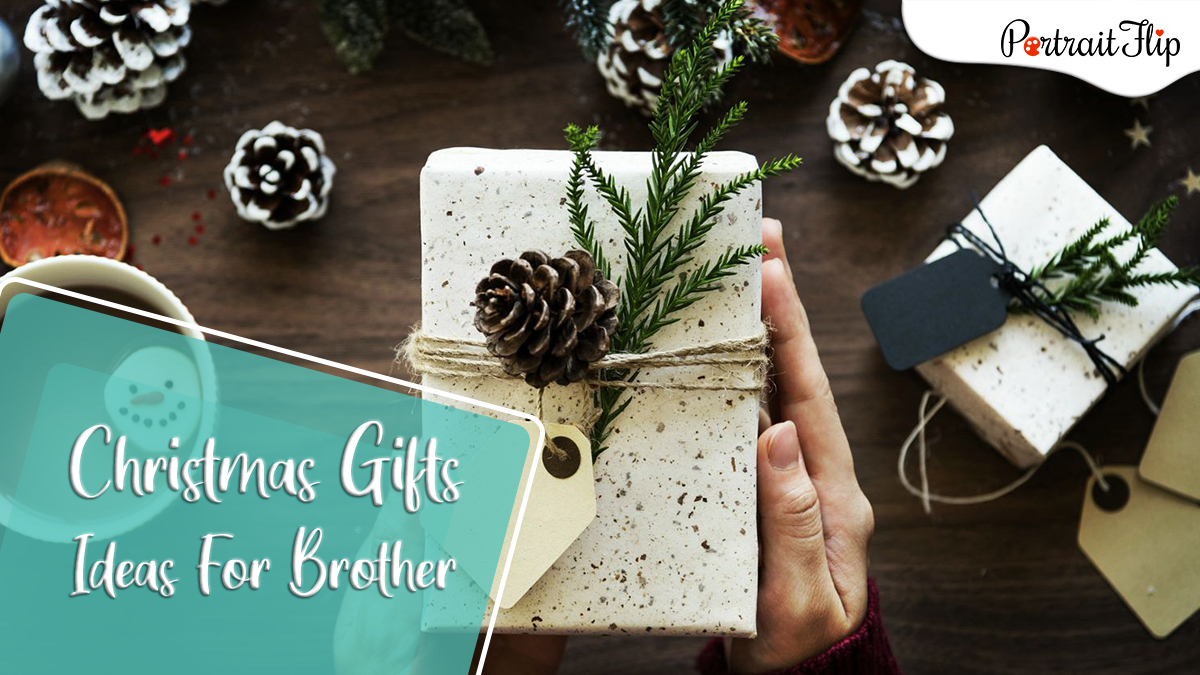 christmas gifts ideas for brother: a decorated white gift with pine nuts.