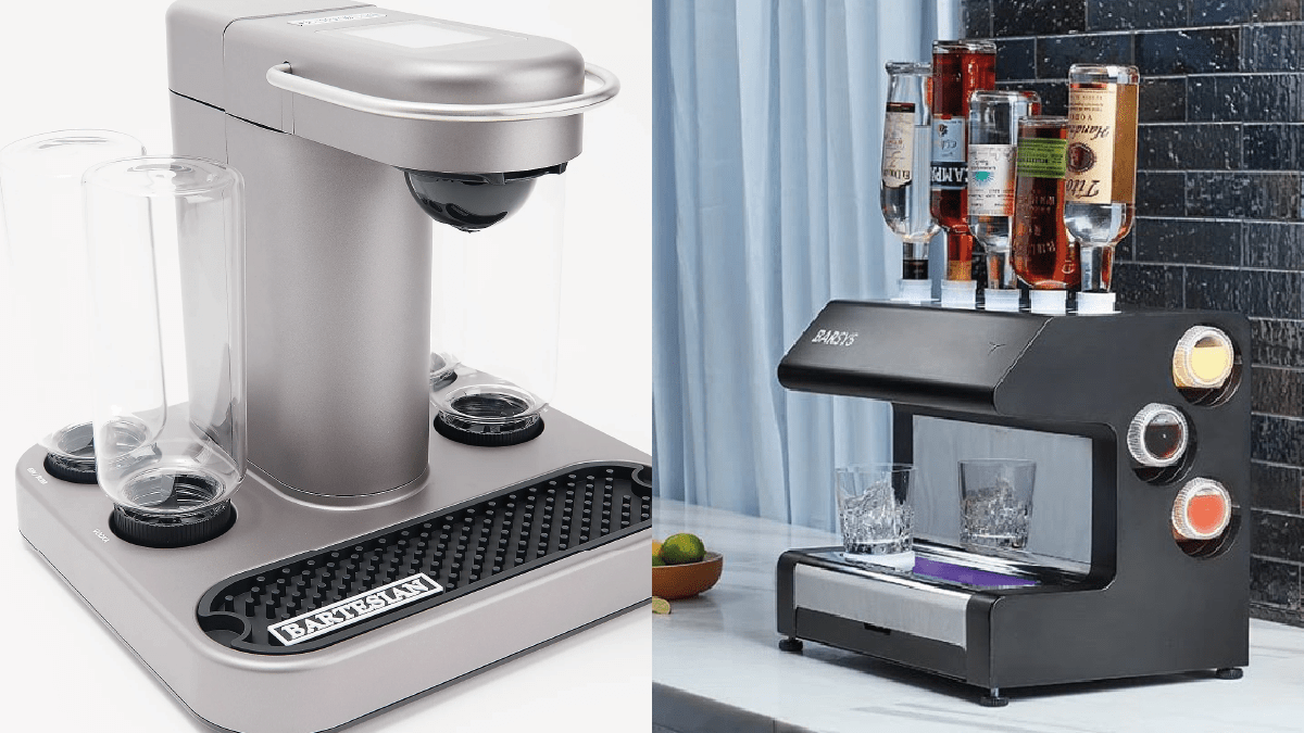 on left: a silver colored cocktail machine. On the right: a black cocktail machine with drinks and glasses.