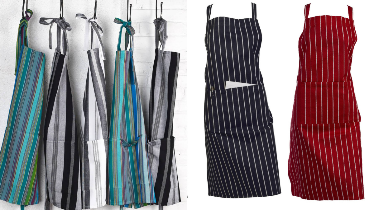 There is a collection of aprons in black, red, and grey color.