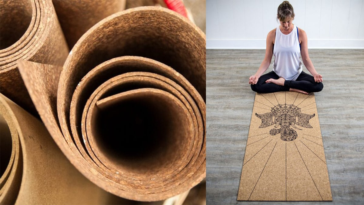 On left side: cork yoga mat. On the right: a woman meditating on a cork yoga mat.