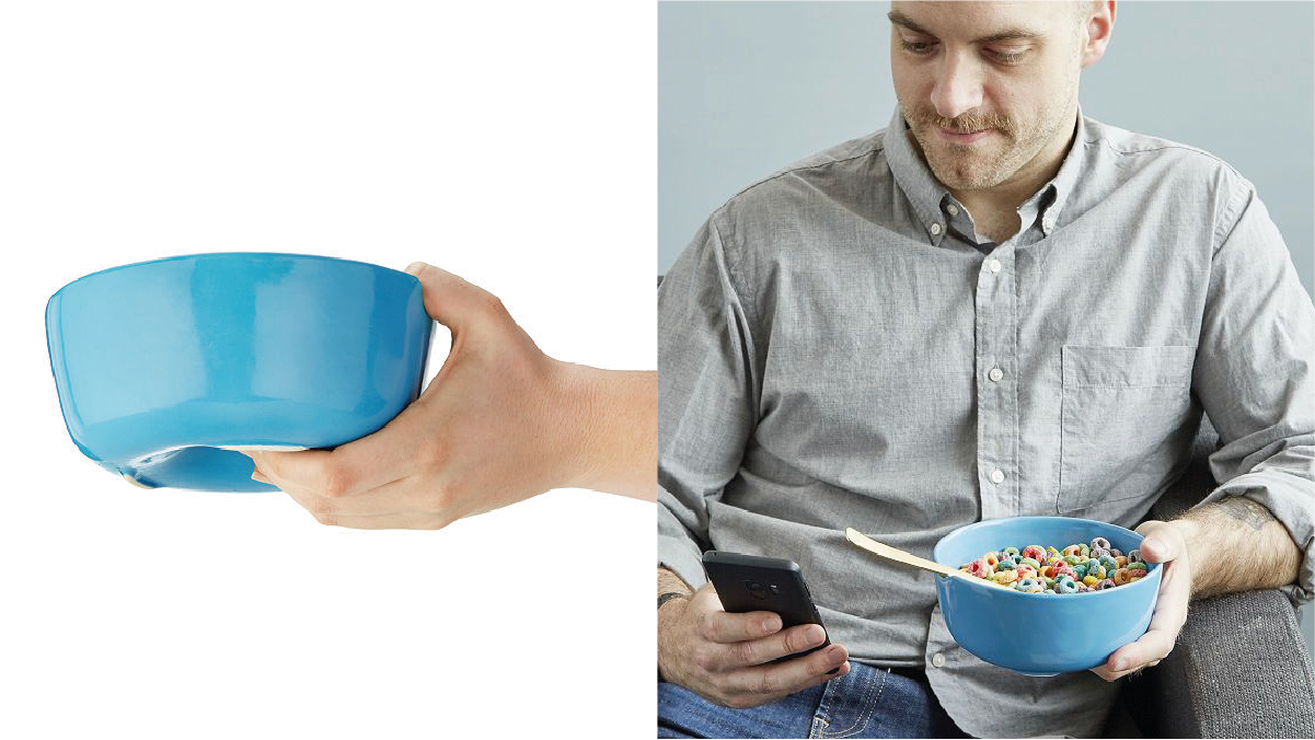 On left; a blue couch bowl. On right: a man checking his phone while holding cereal in his blue couch bowl.