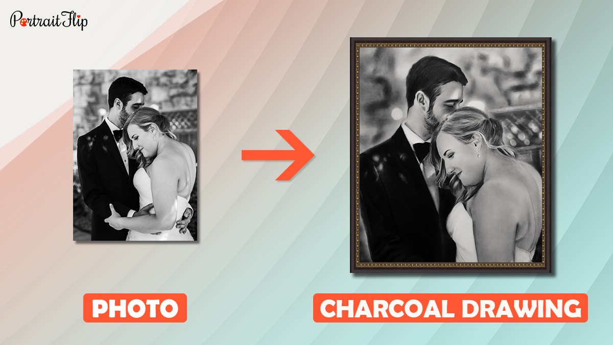 The wedding photo of a couple is turned into a charcoal drawing by the artists of portraitflip