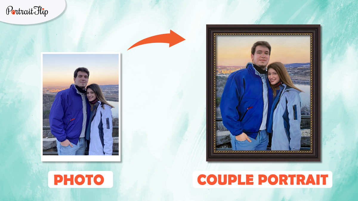a photo of a couple is turned into a couple oil portrait by artists of portraitflip.