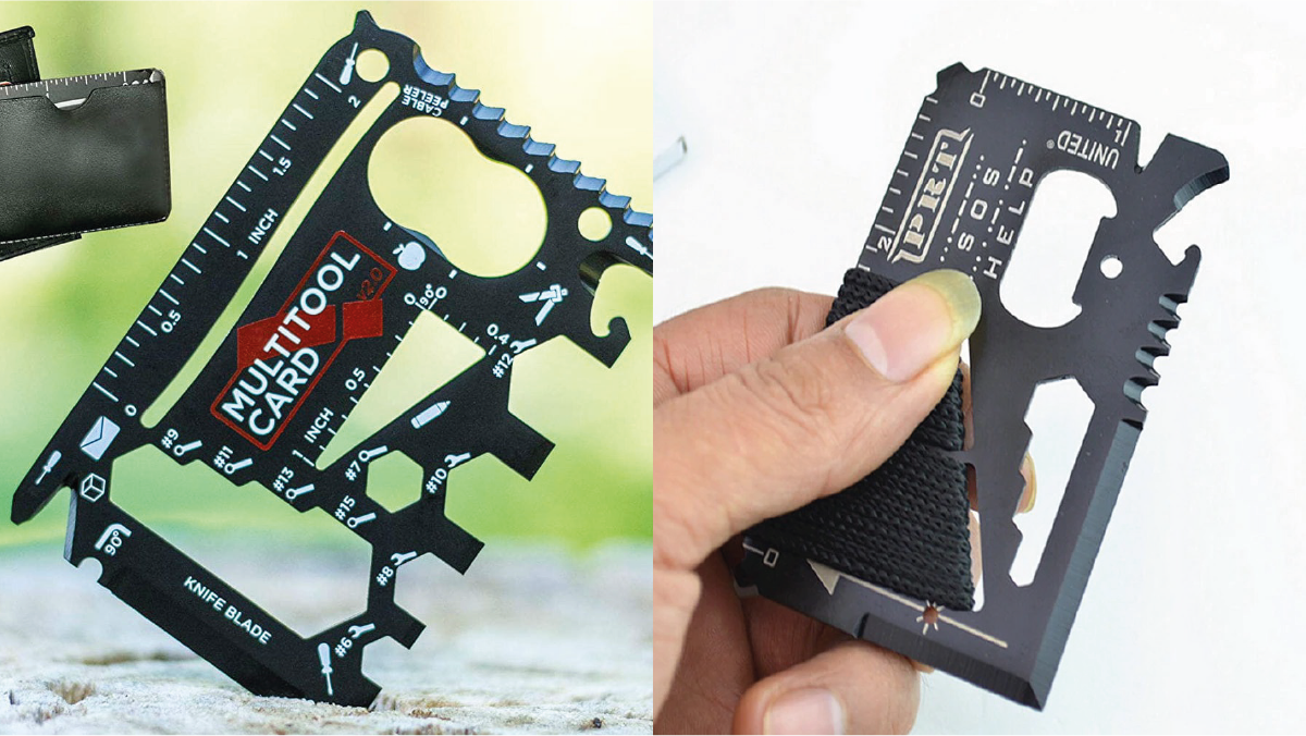on left: a credit card tool. On the right: a person holding the credit card tool