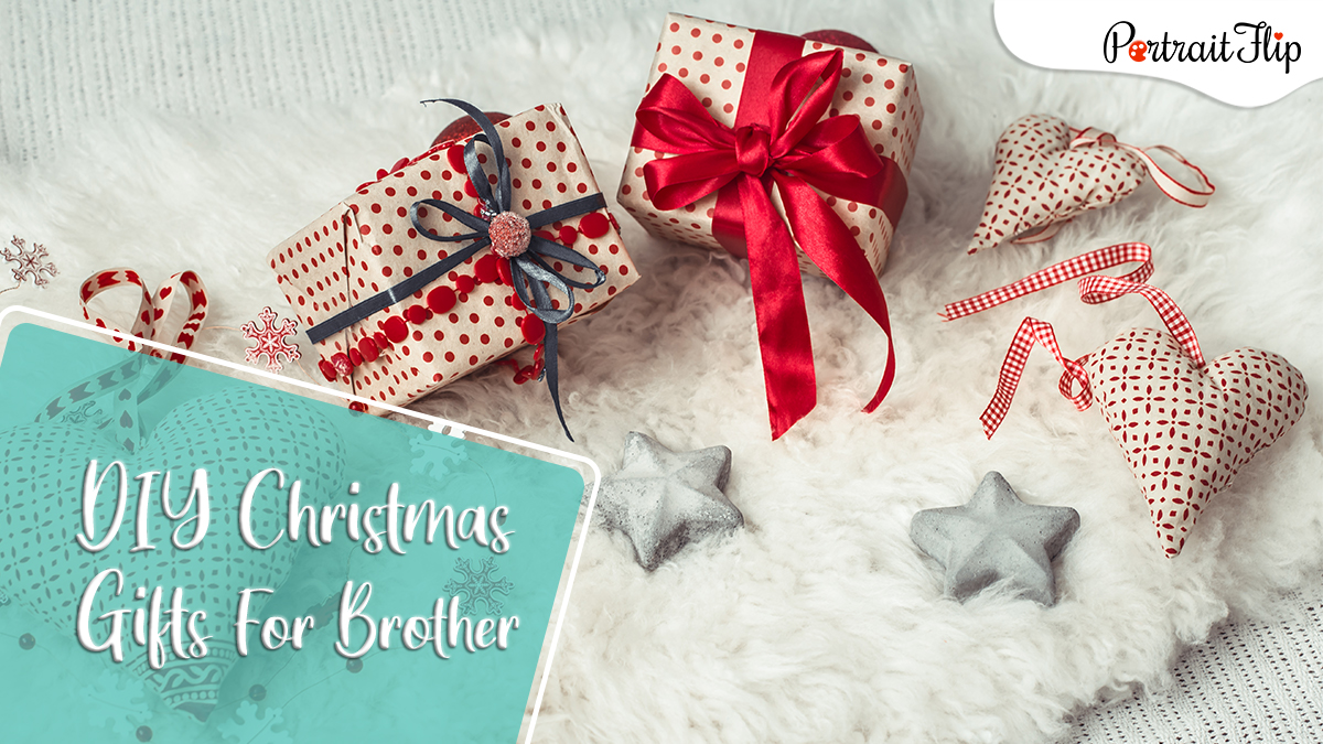 DIY Christmas gifts ideas for brothers: handmade gifts and stars on a table.