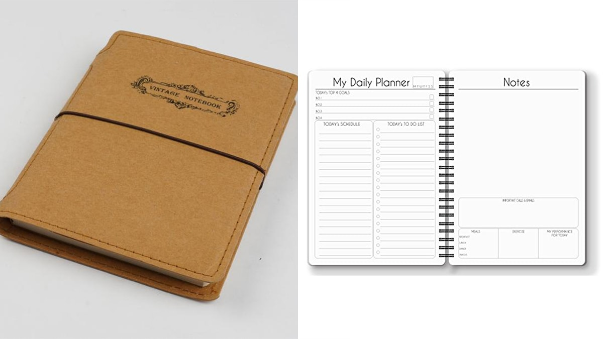 on left side: a brown colored Daily Planner diary. On the right side: the inside pages of the diary.