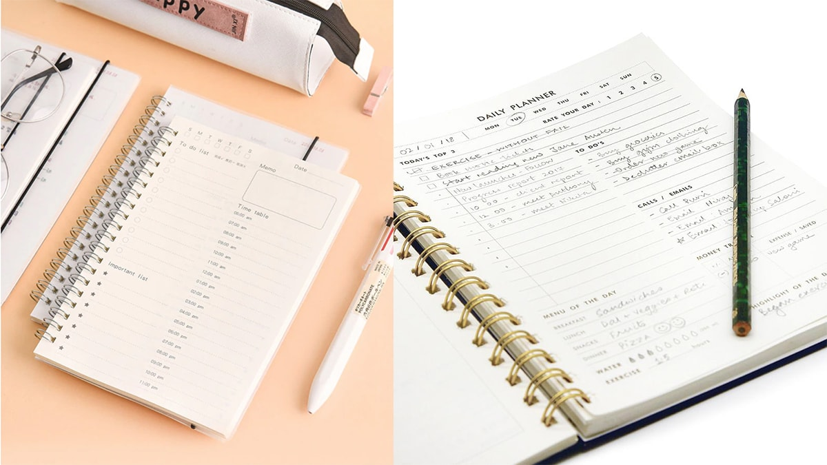 Daily planner with notes written on them