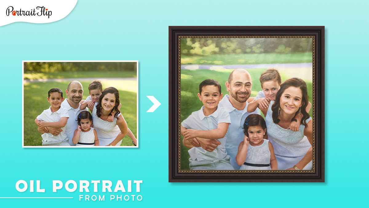 Christmas gifts ideas for him: a family photo of wife, husband , and three kids is turned into handmade oil painting by artists of portraitflip