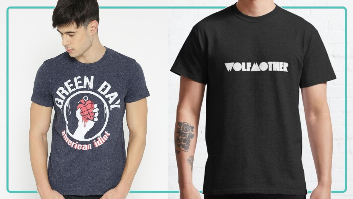 """on the left: a guy wearing Green day American idiot t-shirt. On the right: a guy wearing a plain black t shirt with """"Wolfmother"""" written on it."""