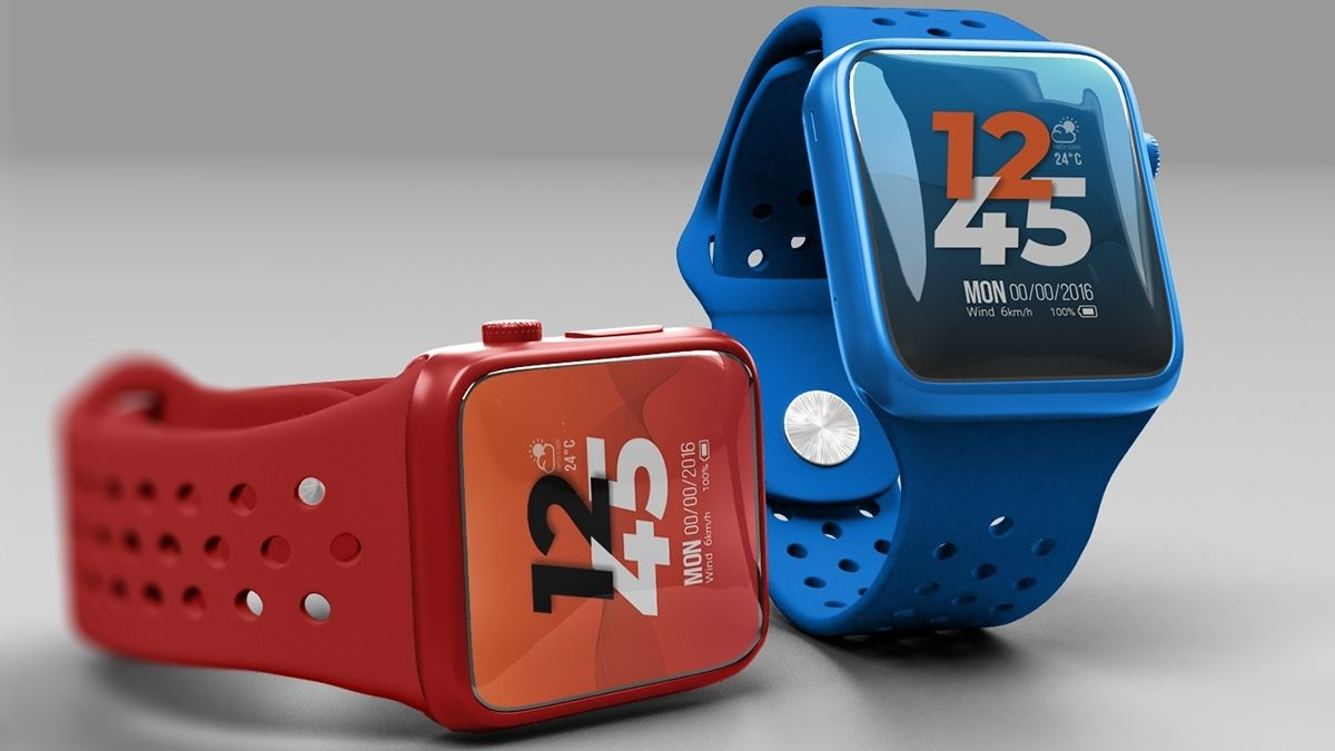 Red and orange fitness watches.