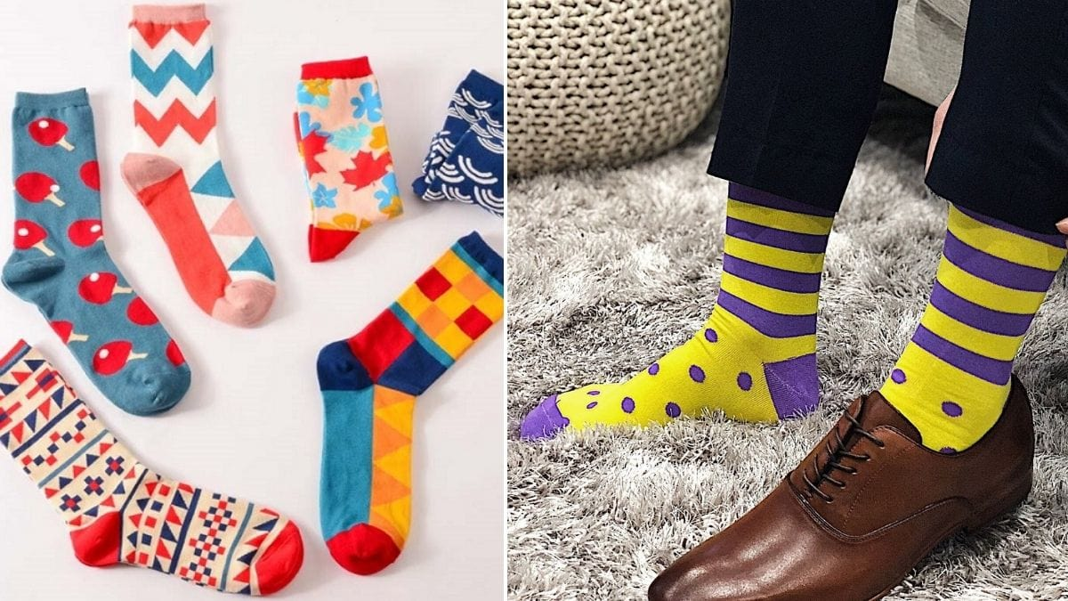 On the left: Funky socks kept on floor. On the right: a guy wearing vibrant yellow and purple striped socks.